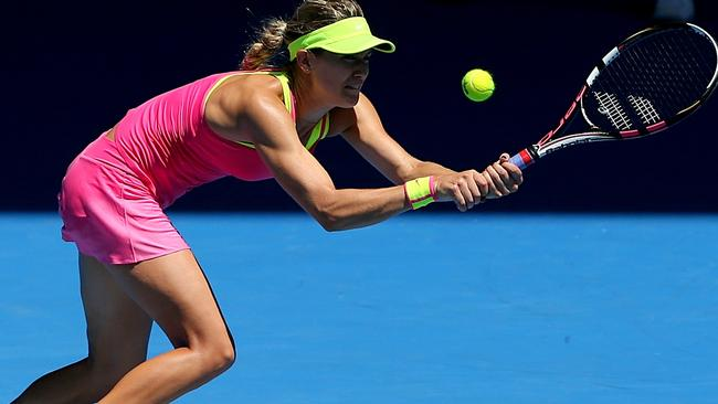 Eugenie Bouchard stretches out to get the ball. Picture: Mark Stewart