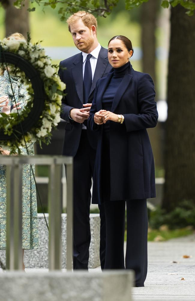 Meghan and Harry toured the 9/11 memorial at the One World Trade Centre, Picture: Gotham/GC Images