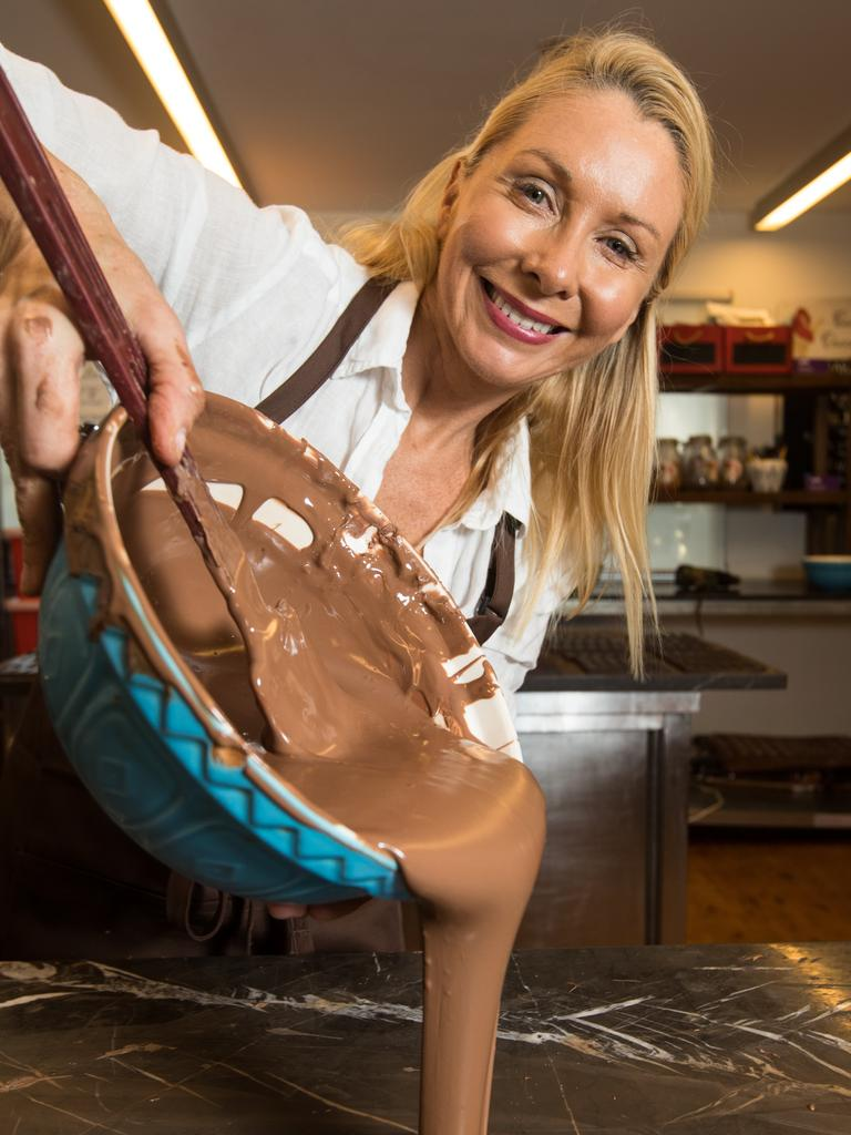 Rebecca Knights makes some chocolate. Picture: AAP/Julian Andrews