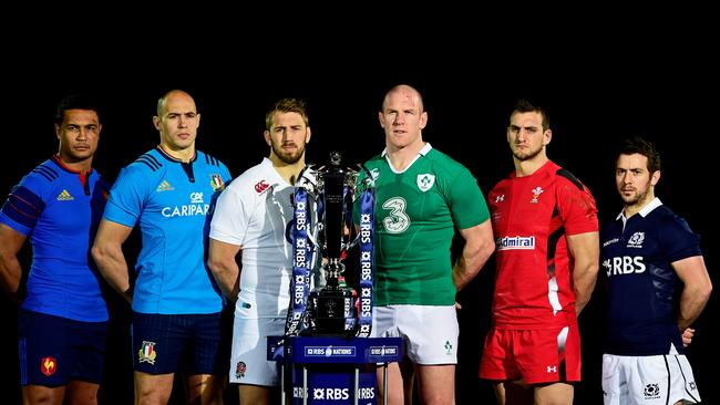 Thierry Dusautoir of France, Sergio Parisse of Italy, Chris Robshaw of England, Paul O'Connell of Ireland, Sam Warburton of Wales and Greig Laidlaw of Scotland pose with the Six Nations trophy.