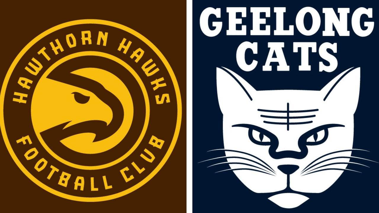 Two NBA-ised AFL club logos created by footy fan and designer Joey Whiting.