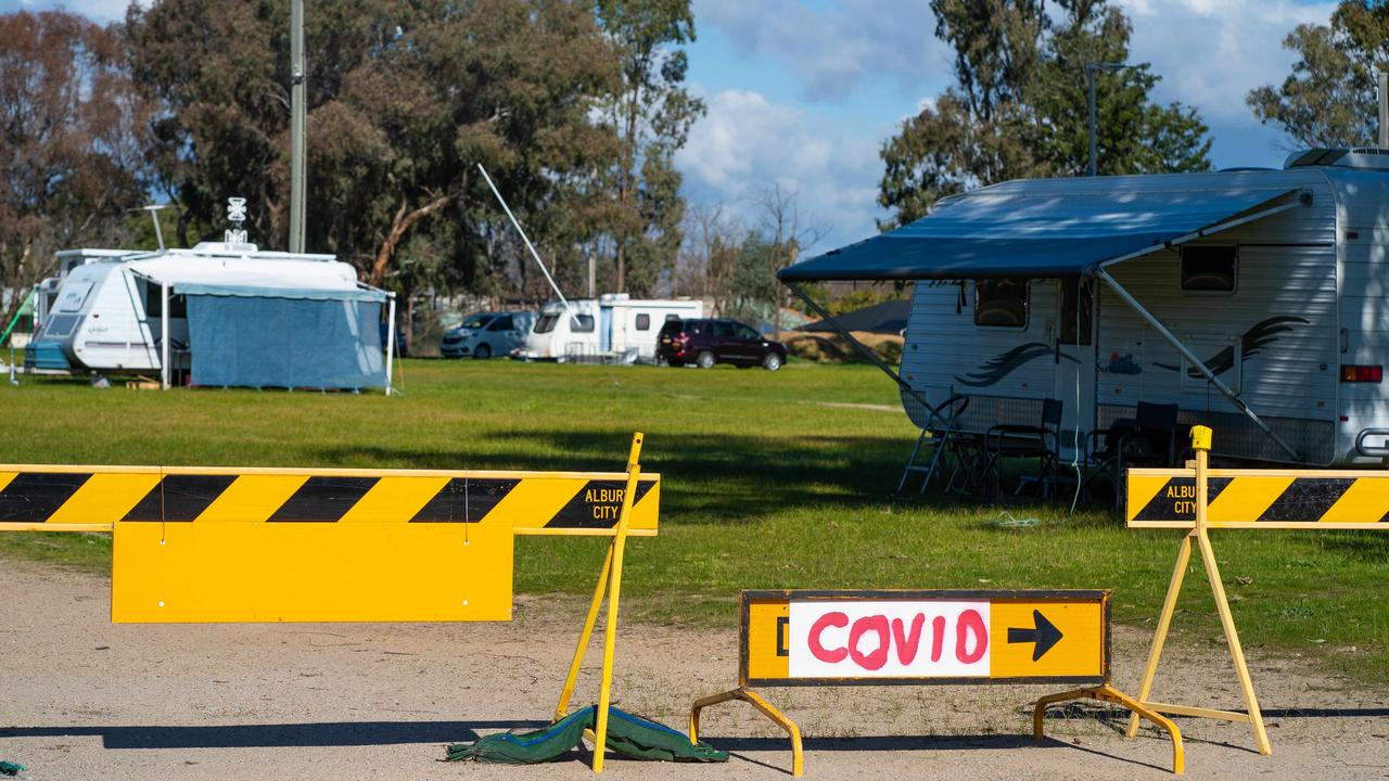 Hundreds of stranded Victorians have been camped along the NSW border. Picture: Simon Dallinger