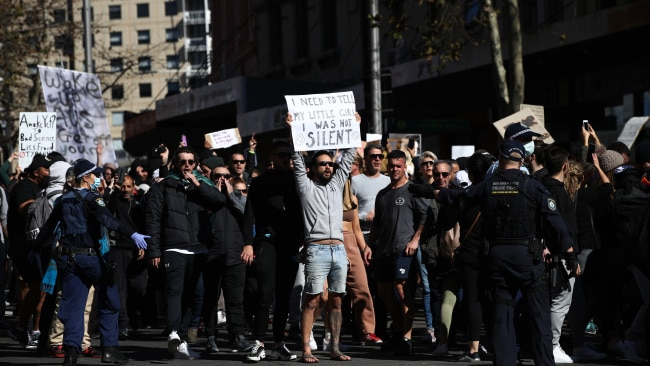 """The premier also issued a warning for Sydneysiders who are considering undertaking """"illegal activity"""" and protesting in the CBD on Saturday. An anti-lockdown rally was held the city last weekend (pictured). Photo: Don Arnold/Getty Images"""