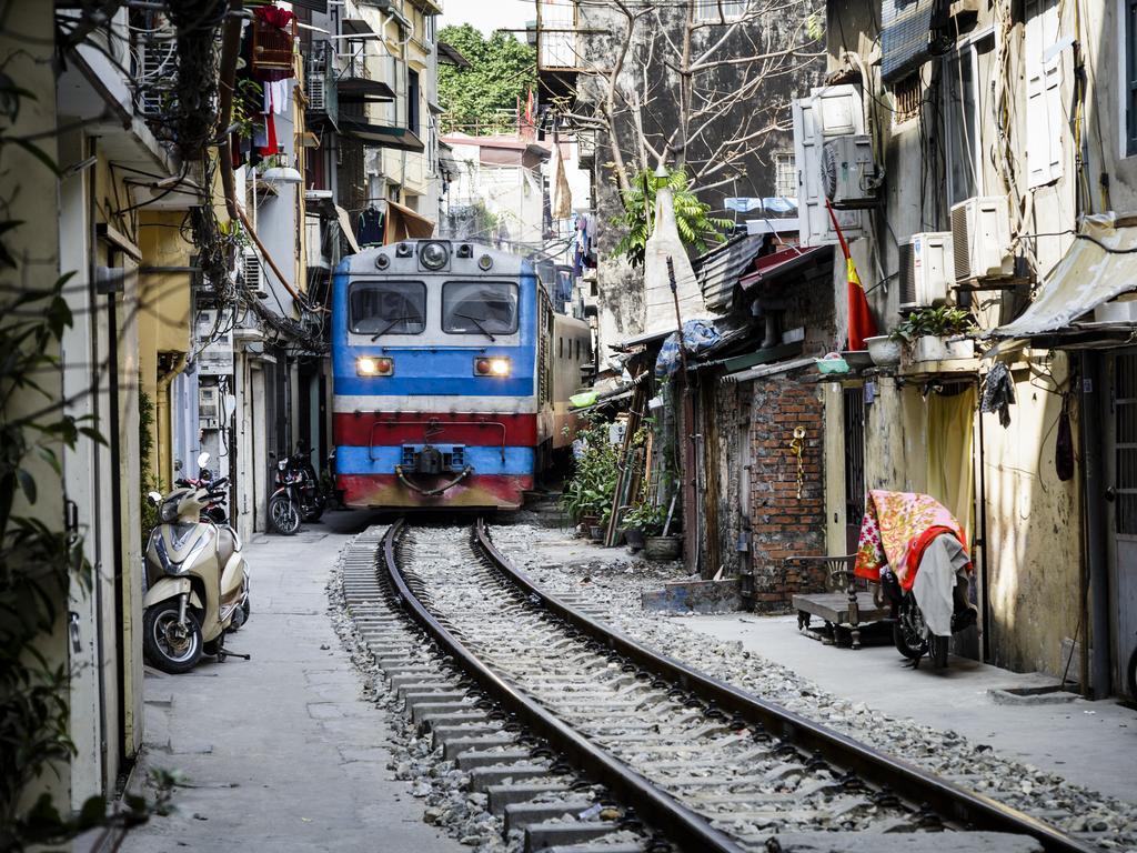 The train street in Hanoi, Vietnam.