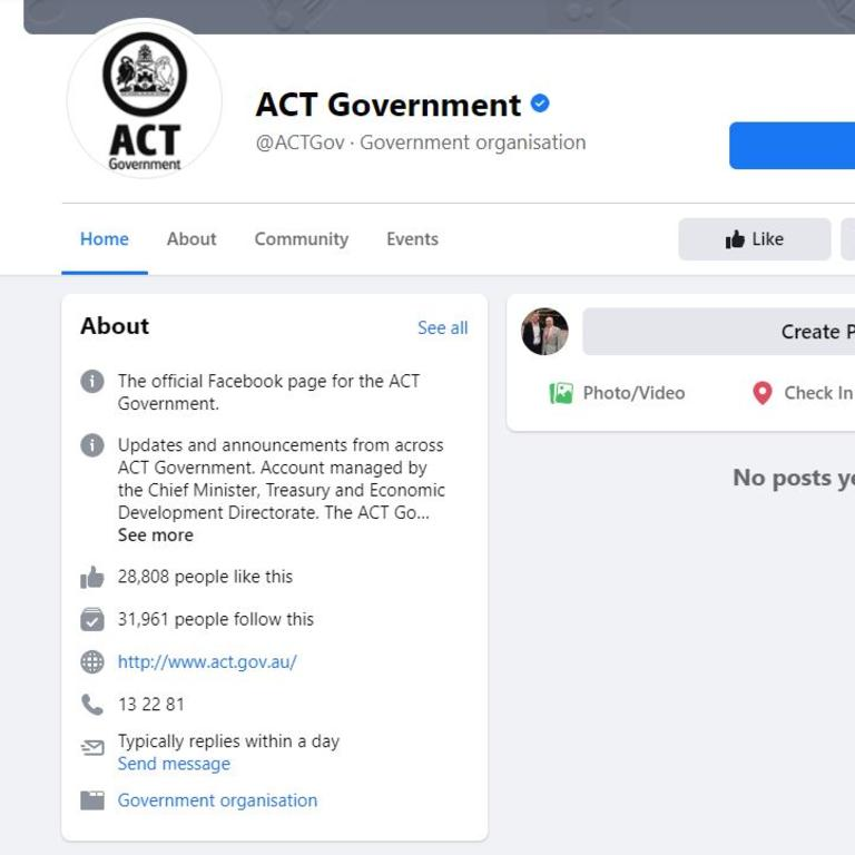 The ACT government page is empty.