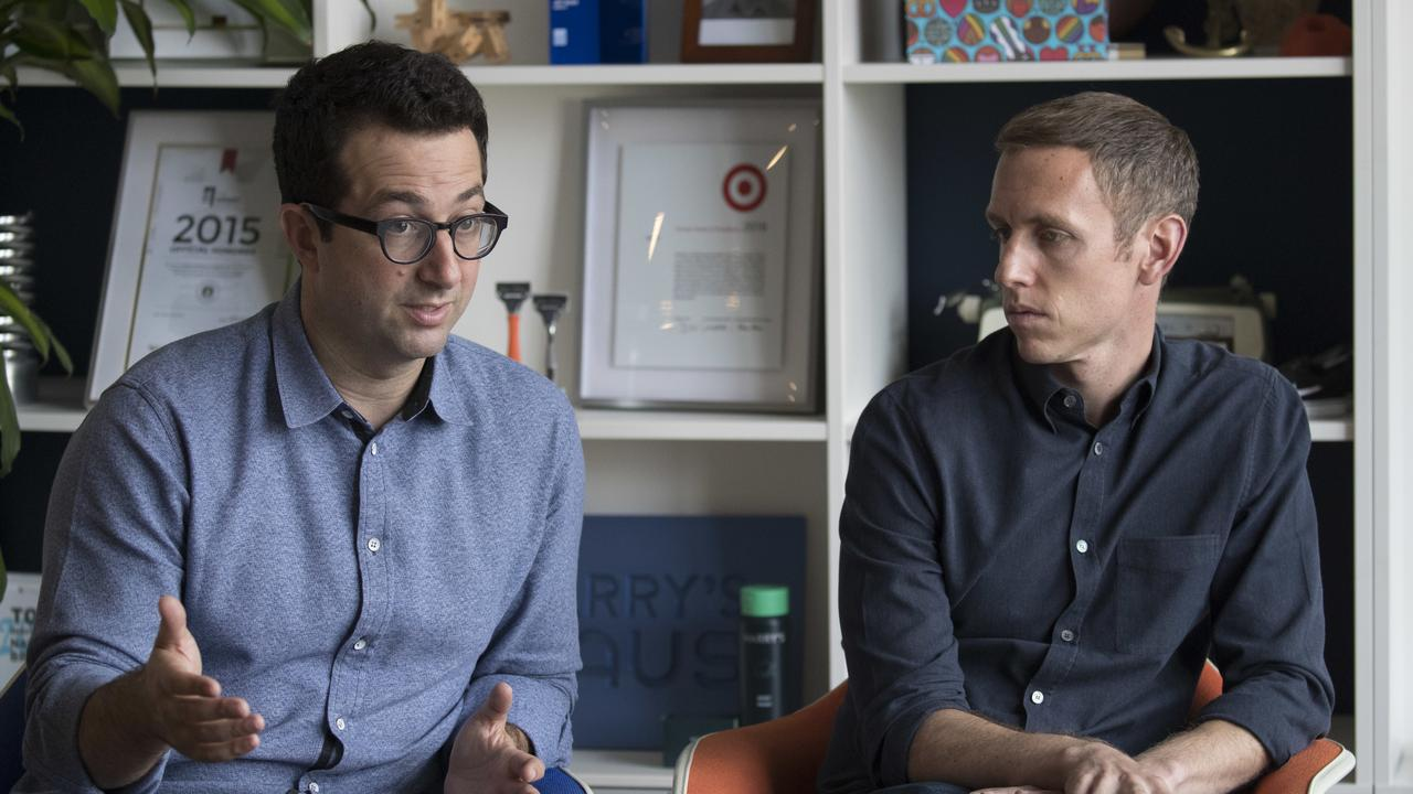 Harry's Inc. co-founders and co-chief executives Jeff Raider, left, and Andy Katz-Mayfield speak during an interview with The Associated Press at company headquarters in New York. Picture: Mary Altaffer/AP