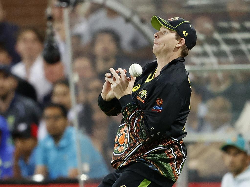 Australia's Steve Smith drops a catch.