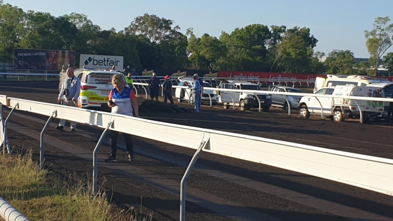 The aftermath of the fall at Darwin Turf Club last month.