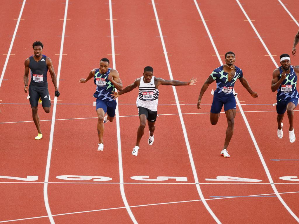 Trayvon Bromell, crosses the finish line in the Men's 100m final at the U.S. Olympic Track & Field Team Trials.
