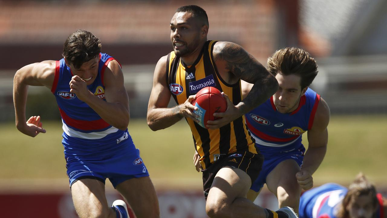 Jarman Impey's hawks defeated the Western Bulldogs in an entertaining clash. Picture: Daniel Pockett