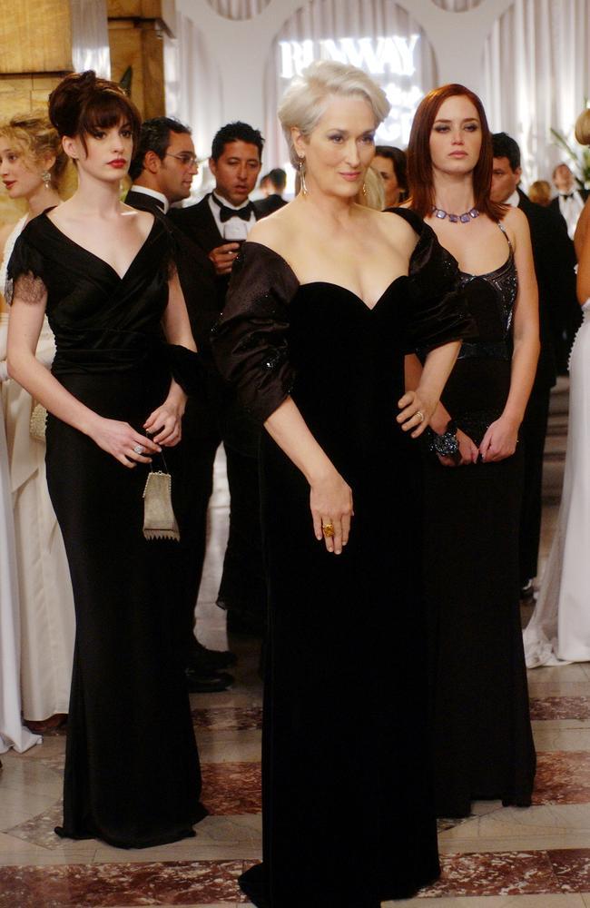 Streep (centre) now says it wasn't much fun being Miranda Priestley.