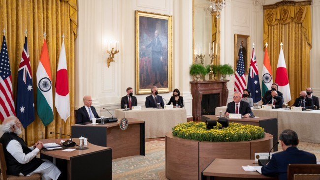 President Joe Biden hosted Australian Prime Minister Scott Morrison, Indian Prime Minister Narendra Modi and Japanese Prime Minister Yoshihide Suga at the first in-person Quad meeting at the White House. Picture: Sarahbeth Maney-Pool/Getty Images