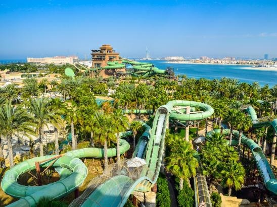3. ATLANTIS AQUAVENTURE, UAE Atlantis Aquaventure is part of the iconic Atlantic Hotel. Adrenaline junkies can get their fix at the water park including the near-vertical Leap of Faith slide which drops 30 metres before shooting you through a tube of shark-infested waters. You can get your pulse racing on 30 slides and attractions, including Dubai's longest Lazy River, and relax on 500m of private beach.