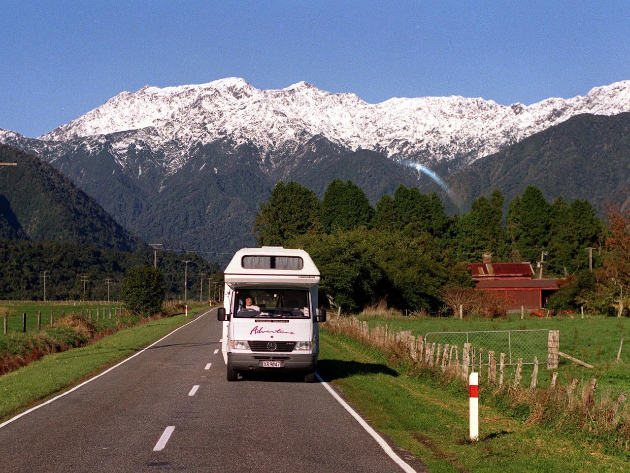 Motorhome campervan travelling along road in NZ. (Private picBarry/OBrien). motorhome obrien  / New / Zealand travel tourism caravans camping caravanning  recreational vehicle