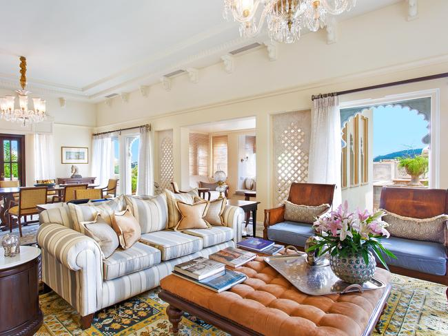 EXTRA LUXURY                   Oberoi Udaivilas' rooms and suites combine Mewar-inspired motifs and elegant furnishings with modern technologies. Decorated with natural palettes, touches of vibrant colour and traditional Indian patterns, letting in dappled sunlight and views of the grounds and lake. Picture: Oberoi