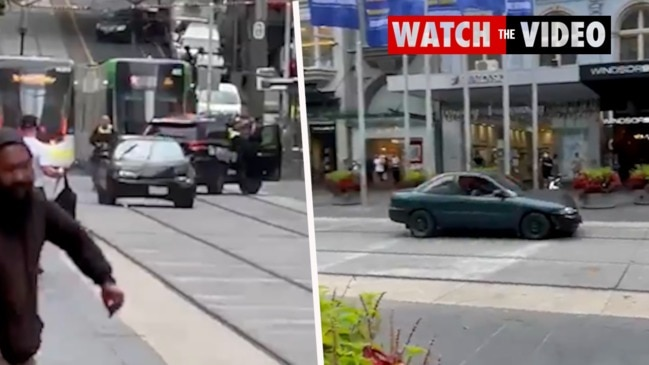 Car drives erratically through Melbourne's Bourke Street