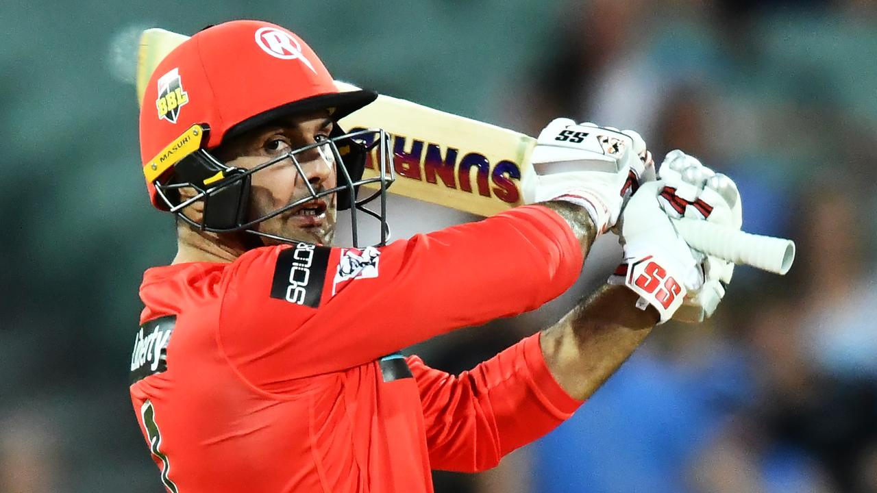 Renegades' Mohammad Nabi batting with the Solos logo on his right sleeve. Picture: Mark Brake/Getty Images