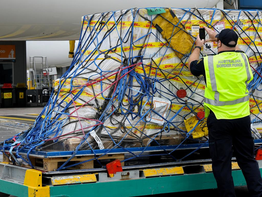 The first Australian shipment of the Pfizer vaccine. Picture: Bianca De Marchi