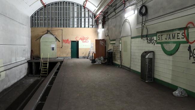 One of several ghost platforms — that have never been in operation — underneath St James station. Picture: Andrew Murray.