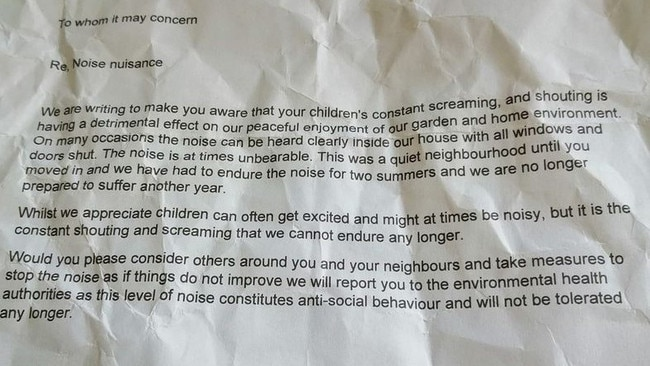 Mum shocked by note about 'unbearable' kids