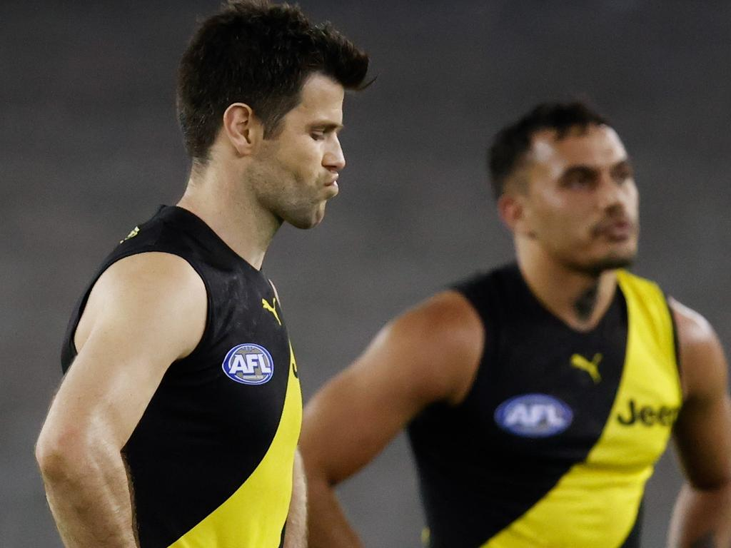 Sydney Stack and Trent Cotchin after the Giants ended their season early.