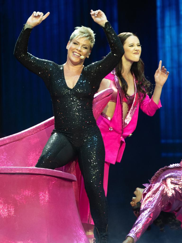 American singer Pink performs in the first Australian concert of her Beautiful Trauma World Tour. Picture: AAP/Richard Wainwright