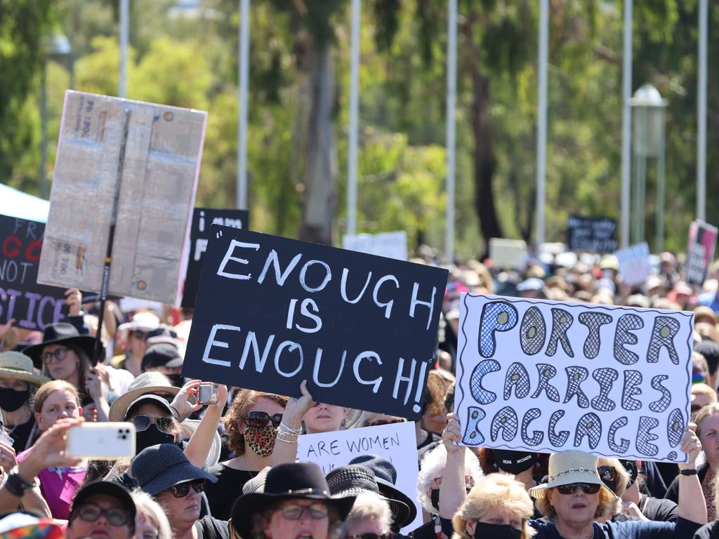 Ms Higgins' allegation helped prompt thousands to protest outside parliament during the March 4 Justice rallies. Picture: NCA NewsWire/Gary Ramage