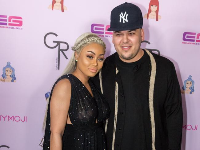 A very different looking Rob Kardashian with ex, Blac Chyna, in 2016. Photo: Supplied