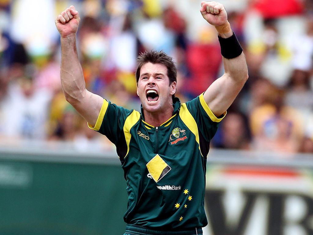 Dan Christian celebrates a hat-trick while playing for Australia against Sri Lanka in 2012.