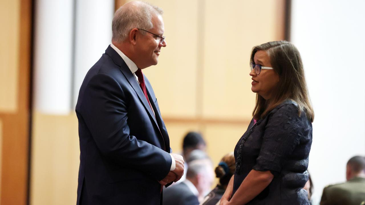 Scott Morrison with Sex Discrimination Commissioner Kate Jenkins. Picture: Gary Ramage/NCA NewsWire