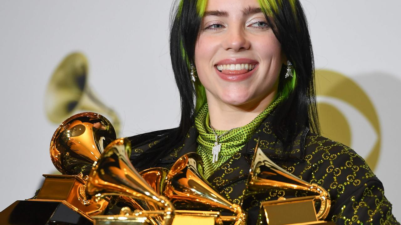 US singer-songwriter Billie Eilish swept the board at the 2020 Grammys, scoring five gongs. Picture: AFP