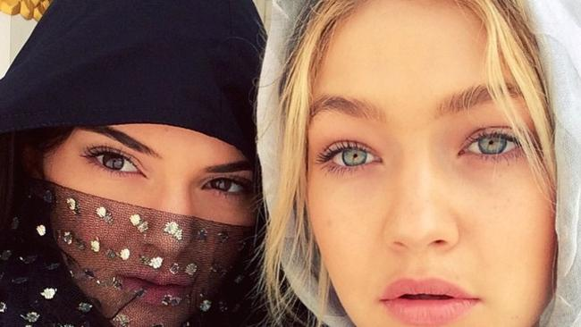 Exotic look ... Kendall Jenner and Gigi Hadid on a recent trip to Dubai. Picture: Instagram
