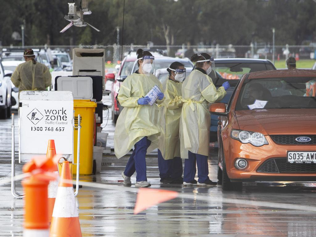 People getting tested at the 24-hour Victoria Park Covid-19 testing station in Adelaide. Picture: NCA NewsWire/Emma Brasier