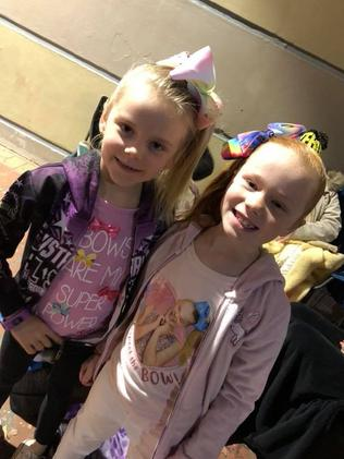 Kelly Cheshire's daughters Sophie and Ruby, both 7.