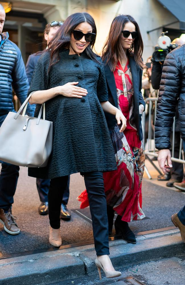 Meghan, Duchess of Sussex and Abigail Spencer are seen leaving The Mark Hotel in NYC. Picture: Gotham/GC Images