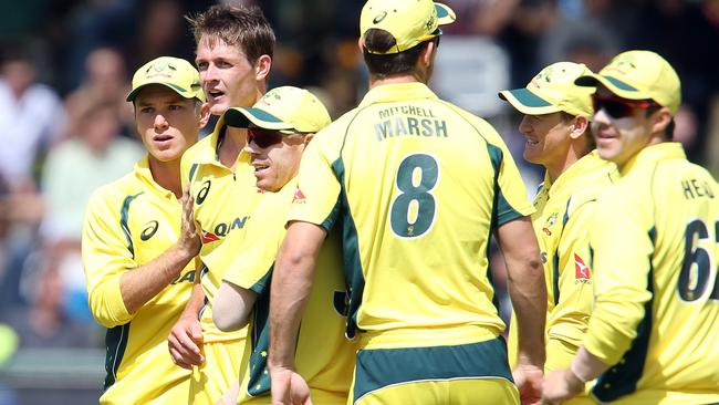 Australia celebrates a South African wicket.