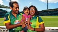 Jagadeesh Sampath with his wife Niveditha Srinivasan and their 2 year old daughter Rhea at the SCG where they will become Australian citizens during the break of the cricket match between Australia and India on Australia Day.