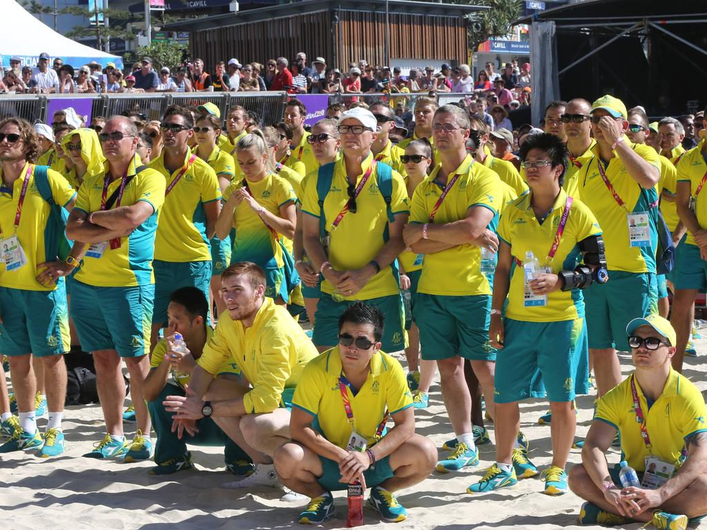 Australain Commonwealth Games Athletes meet and greet at Surfers Paradise Beach. Athlete smelt in the sun during speeches.. Picture Glenn Hampson