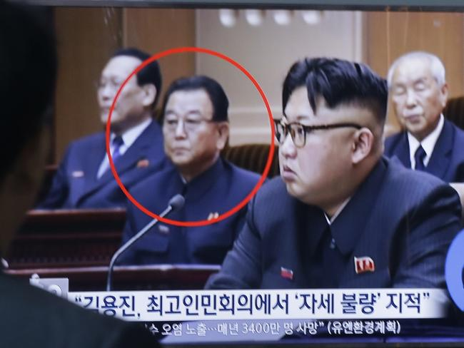 Kim Yong Jin, second from left, a vice premier on education affairs in North Korea's cabinet pictured with North Korean leader Kim Jong-un. Picture: Ahn Young-joon