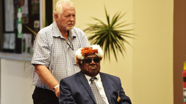 Gumatj chief executive Klaus Helms takes Gumatj chieftain Galarrwuy Yunupingu through Gove Airport to greet Prince Charles when he touches down in the Northern Territory Picture: Keri Megelus