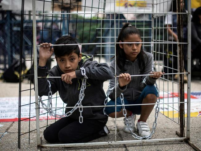 Children take part in a protest against US immigration policies outside the US embassy in Mexico City. Picture: AFP