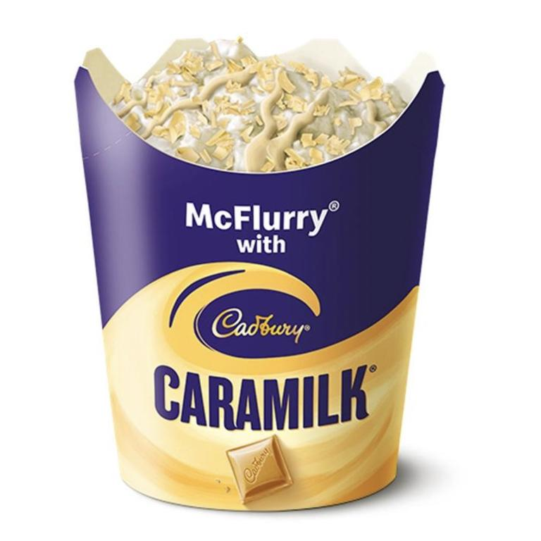 After weeks of speculation Macca's confirmed there was a Caramilk McFlurry coming to restaurants. Picture: Supplied.