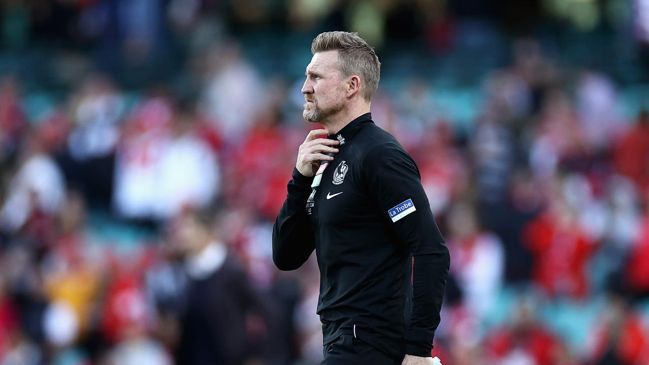 Magpies head coach Nathan Buckley. Picture: Cameron Spencer