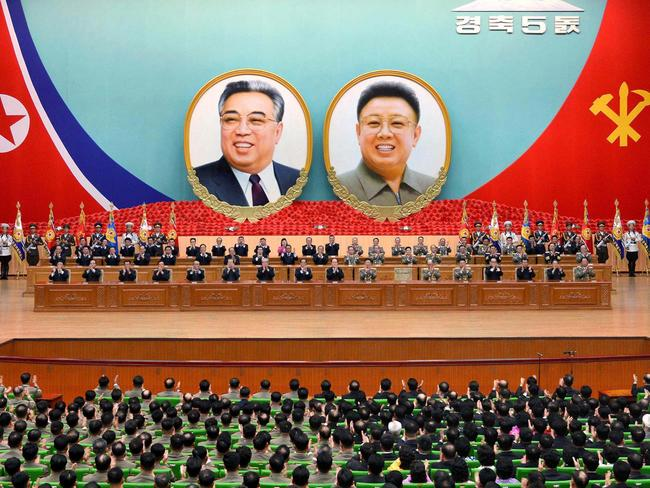 People gather for a national meeting at the People's Palace of Culture in Pyongyang to celebrate the 105th anniversary of foudning President Kim Il-sung. Picture: AFP