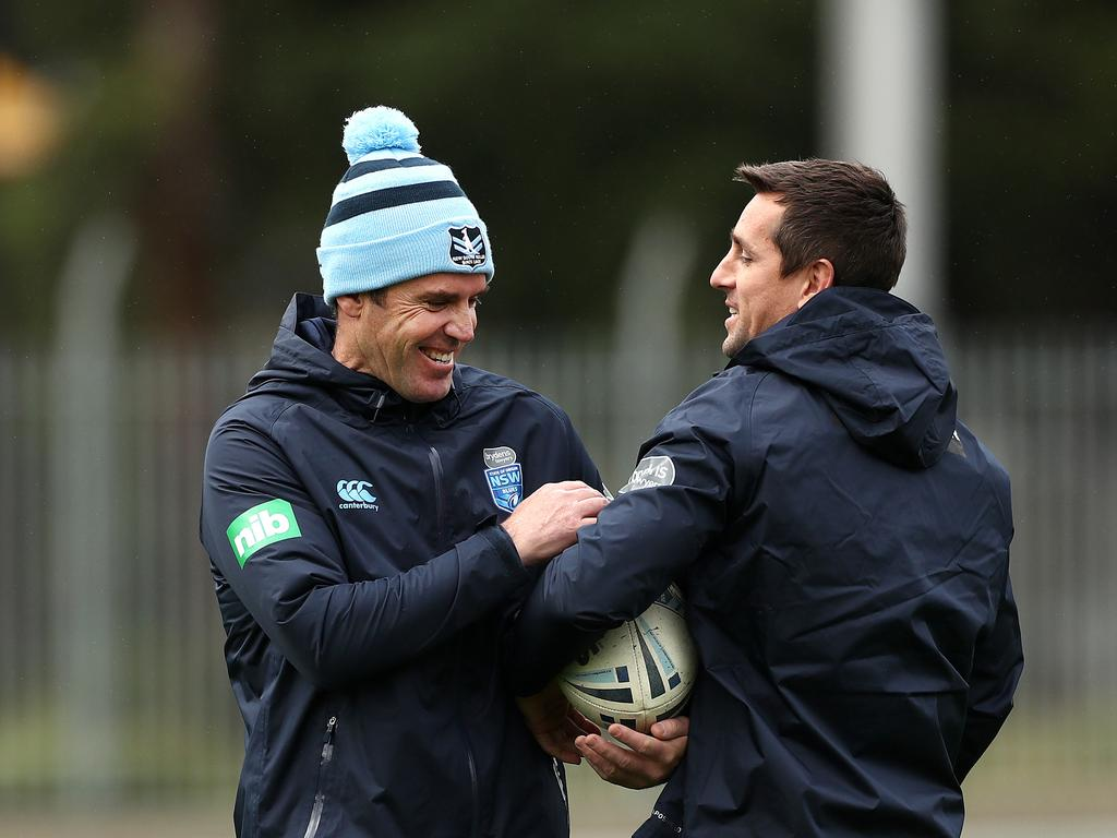 Fittler and Pearce during NSW Blues training.
