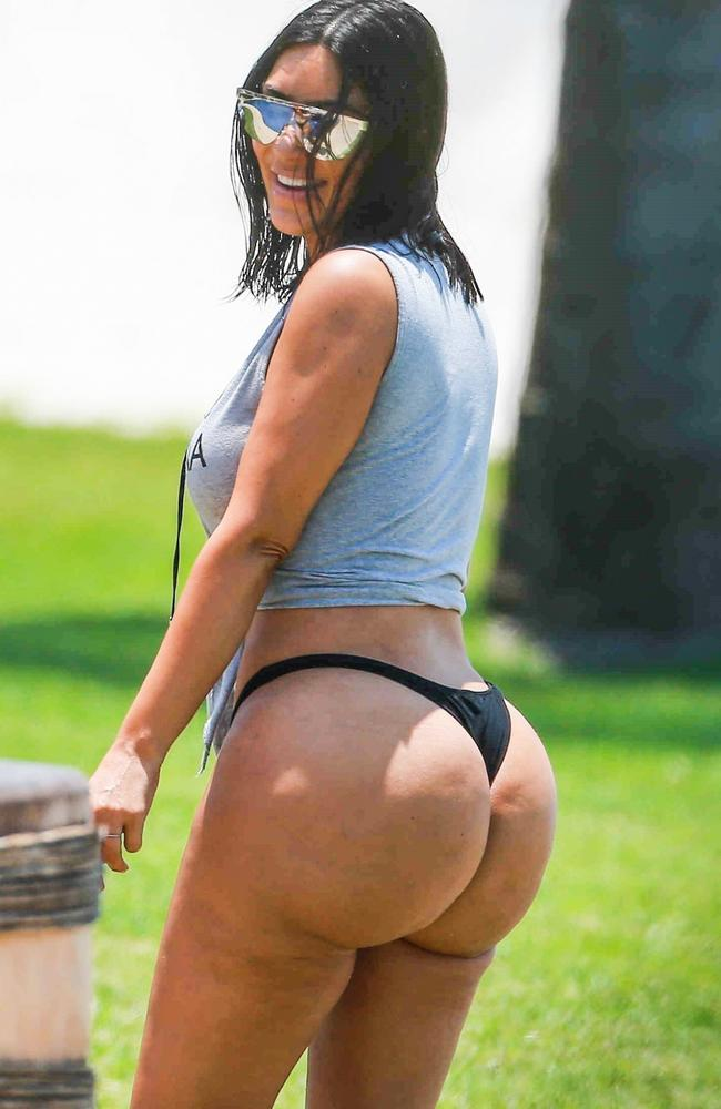 Paparazzi pics of Kim on holiday were later claimed by the star to have been doctored before publishing. Picture: Backgrid