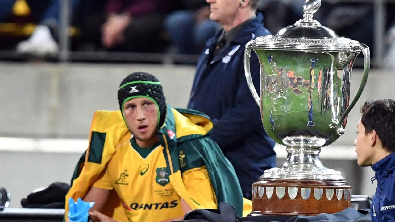 Adam Coleman of Australia in the sinbin next to the Bledisloe Cup in 2016.
