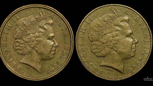 The $1/10c mule coin, left, with a normal $1 coin. Picture: Australian Coin Collecting Blog