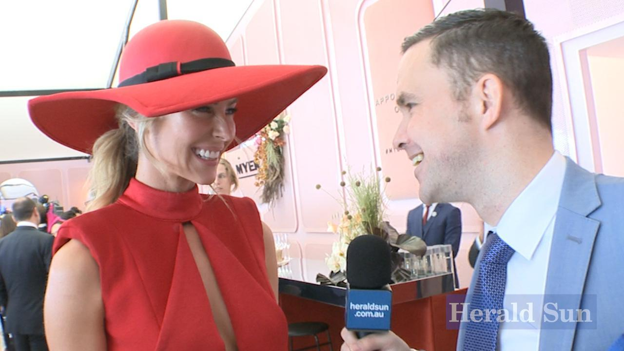 Jennifer Hawkins in the Myer marquee