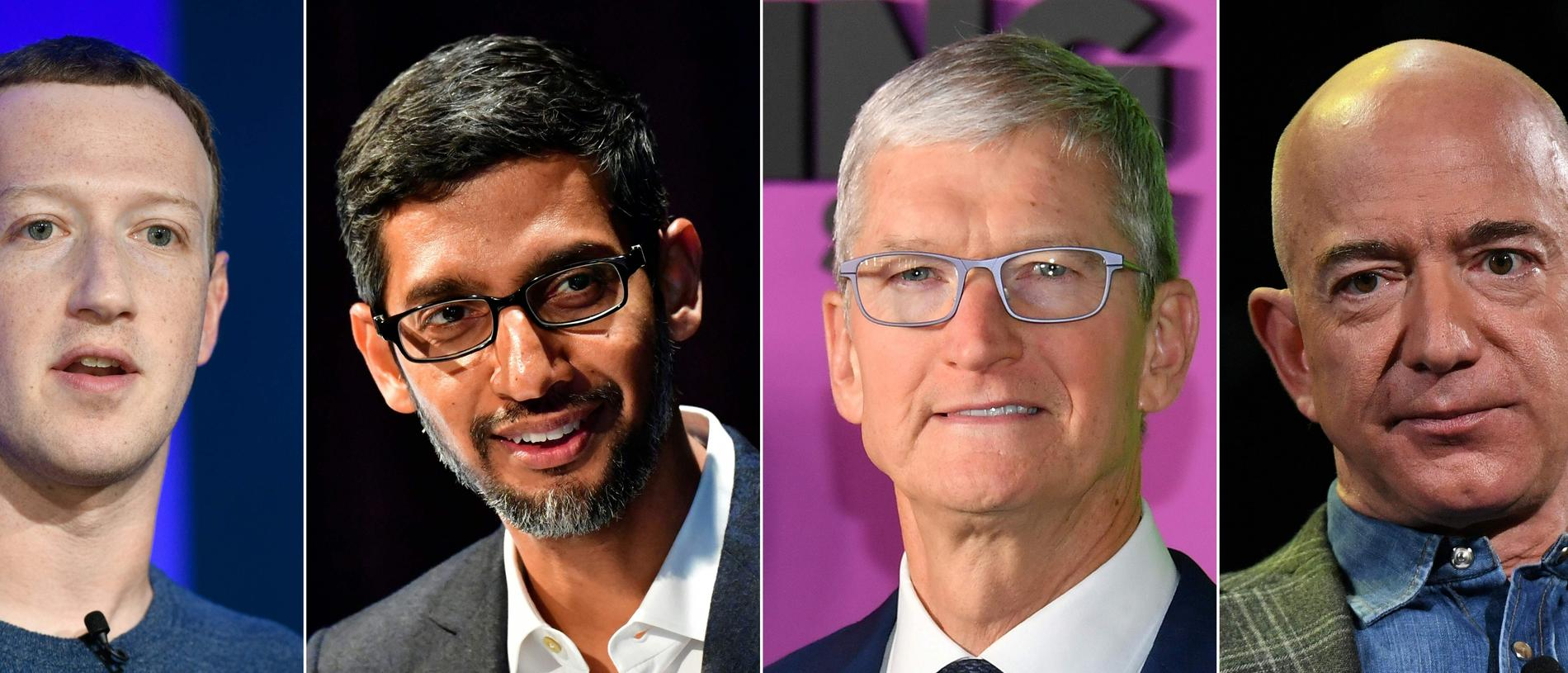 Facebook founder Mark Zuckerberg, Google CEO Sundar Pichai, Apple CEO Tim Cook and Amazon founder Jeff Bezos all testified to Congress in July. Picture: AFP
